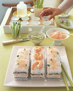Sushi Cake -- Serve this sushi cake as a precursor to a light Asian-style meal, or alone with hot or cold sake. Since no raw fish is used -- only cooked shrimp and lump crabmeat -- the cake can be made ahead of time and chilled until ready to serve.