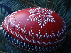 Goose Egg Ornament Hand Painted Polish Pysanka by EggstrArt Painting Eggs, Hand Painted Ornaments, Egg Art, Egg Decorating, Doll Crafts, Painted Rocks, Easter Eggs, Arts And Crafts, Calligraphy