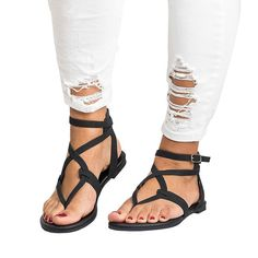 Genepeg Womens Sandals Summer Gladiator Flat Heels Beach Shoes Casual Buckle Flip Flops ** Many thanks for viewing our photograph. (This is our affiliate link) Ankle Strap Sandals, Gladiator Sandals, Flat Sandals, Flat Shoes, Strappy Sandals, Women's Shoes, Golf Shoes, Shoes Style, Dance Shoes