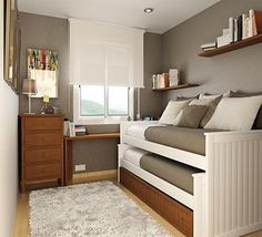 I love the roller shade making the window seem bigger and the bed idea in this space.. with 2 who share a beroom it would be a great way to open up a little more space to play in.