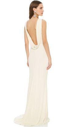 Badgley Mischka Collection Вечернее платье с воротником-хомутом на спине | SHOPBOP