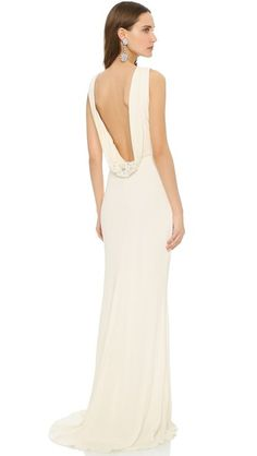 Badgley Mischka Collection Cowl Back Gown   SHOPBOP