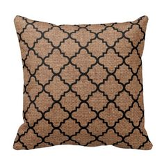 Black Quatrefoil on Rustic Burlap – Shabby Chic Pillows