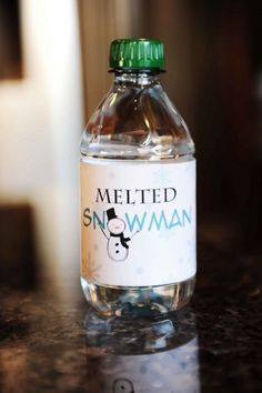"DIY Snowman Best Tutorials and Crafts--the water bottle with the ""Melted Snowman"" label."