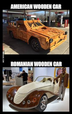 American vs Romanian skills (after seeing the post with the guy how built a wooden car) - Wooden Car, Shadowrun, Back To The Future, Bellisima, Best Funny Pictures, I Laughed, Fun Facts, Cool Stuff, Funny Stuff