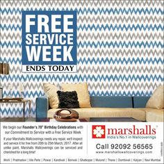 Our special FREE SERVICE WEEK ends today, but our commitment to provide you with the best quality service will never end! #FreeServiceWeek #Wallpapers #Wallcoverings #WallDecor #HomeDecor  #Mumbai.