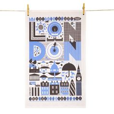 Celebrate iconic London with this classic tea towel! Landmarks such as Tate Modern, Brick Lane, Somerset House and the Victoria and Albert Museum are displayed in contemporary graphics. Blue Towels, Tea Towels, Victoria And Albert Museum, Silk Screen Printing, Contemporary Furniture, Cool Designs, Stationery, Pottery, Kids Rugs