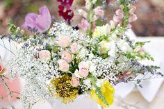 Wildflower summer garden wedding centerpieces
