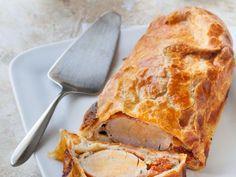 filet mignon, pâte feuilletée, jambon, mozzarella, tomate séchée, crême fraîche, poivre