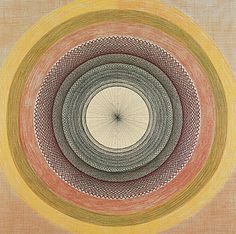 Born into a family of Swiss weavers in 1892, Emma Kunz created mandala-like grids with colored pencil on graph paper,  used as instruments of healing. Each diagram was reportedly drawn in a single sitting, some of which could reportedly last over 24 hours. The drawings were used to help her visualize the invisible realities that exist beyond the tangible, everyday world, and were composed with the aid of a divining pendulum.