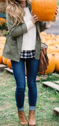 #fall #outfits · Army Jacket // Cream Pullover // Skinny Jeans // Leather Ankle Boots