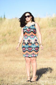 Mirror Print Dress, plus size fashion blogger