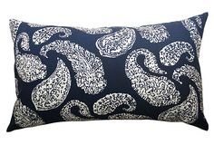 Petit Paisley 14x20 Pillow, Blue on     on chairs flanking fireplace
