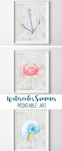 Free watercolor summer printable art! Featuring a whitewashed wood background, and a watercolor anchor, crab and seashell!