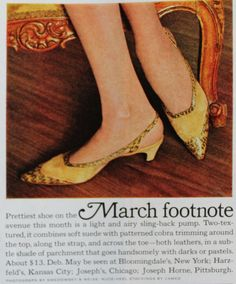 1954, McCalls says point toe kitten heel pumps with an ankle strap were the in style for spring