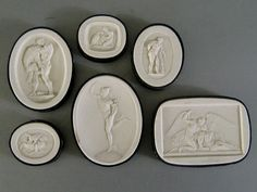 Grand Tour Intaglios c.1820 Plaster Cameo Medallions Antique from stonehouseantiques on Ruby Lane
