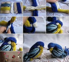 Related Posts: DIY Crochet Pretty Panama Hat for Girls DIY Crochet Daisies Flower Blanket How to Knit a Useful and Pretty Slipper These yarn birdies are so cute. You can make some to decorate your hom (Minutes Diy)The DIY yarn birdies look super cute . Bird Crafts, Easter Crafts, Fun Crafts, Christmas Crafts, Crafts For Kids, Christmas Tree, Easy Yarn Crafts, Xmas, Crochet Diy