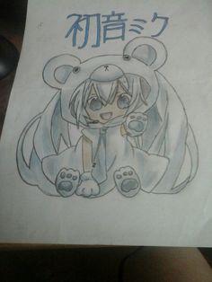 redraw by me  hatsune miku in a polarbear costume  KAWAI *_*