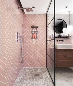 Colorful Kitchen Decor, Kitchen Colors, Bathroom Styling, Bathroom Interior Design, Blush Bathroom, Decorative Wall Tiles, Pink Tiles, Style Tile, Bathroom Inspiration