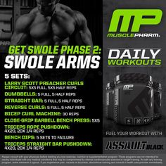 """#MusclePharm Daily Workouts! Wednesday Swole Arms #WeLiveThis #RealAthletesRealScience #MPNation"""
