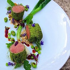 | Herb Crusted Loin Of Lamb  smoked Oats  Leeks  Peas  Broad Beans | By @chefmartinmerz by gourmetzfood