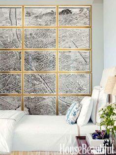 Turgot's 18th-century Plan de Paris engravings provide a romantic landscape in the guest room. Design: Alex Hitz