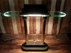 Vintage Art Deco Halogen Lawyers Bankers Desk Table Lamp Light w/Dimmer Switch