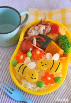 Bees made from sweet potato, too cute!  #Bento #Lunch #Kids