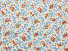 VTG COTTON FEEDSACK FABRIC ~ Sweet Pink Roses Blue Flowers Flour Sack