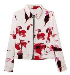 Structured Short Jacket In Blurred Print