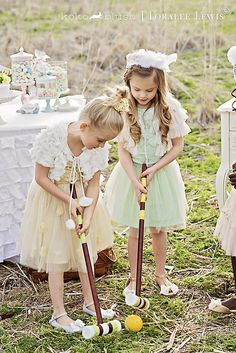 Vintage Croquet Pastel Easter Party designed by Koko Blush and Company with Loralee Lewis. Tutu Du Monde Dresses available at www.kokoblushandcompany.com www.facebook.com/kokoblushandcompany