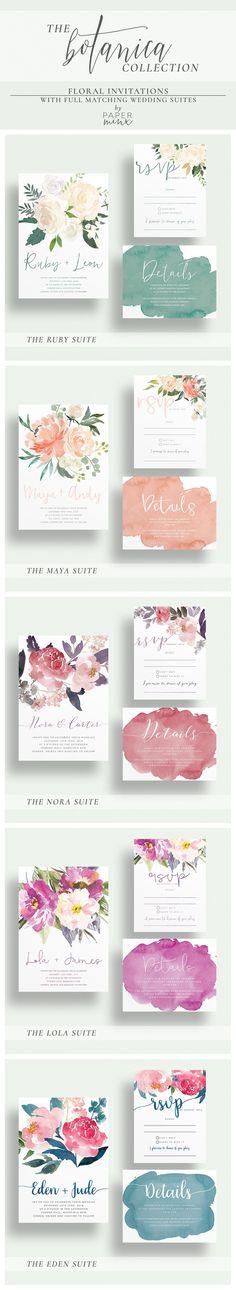 The Botanica Collection by Paper Minx Designs | Printed Wedding Suites available on our Etsy store: www.paperminxdesi... |   Purchase a sample to check out the cardstock & colour quality Instagram & Facebook: @paperminxdesigns #weddinginvitation