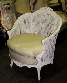 Ornate Cottage Chic French Country Louis XV Caned Cane Bergere Chair | eBay (1500)