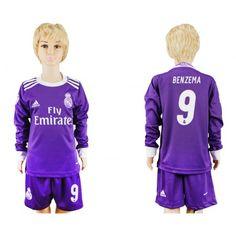 537e95470 Real Madrid Trøje Børn 16-17 Karim #Benzema 9 Udebanetrøje Lange ærmer,222
