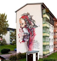 German street art duo Hera and Akut of Herakut have been traveling the world since 2004, filling canvases and walls with their collaborative form of painting. Each piece offers a glimpse into a character or scene, usually accompanied by a bit of text providing a bit of context or perhaps further