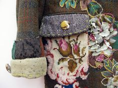 Upcycled jacket embellished with vintage needlepoint and hand stitching - Mandy Patullo - Thread and Thrift