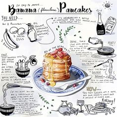 food illustrations Amber Day Lifestyle, Fashion am - food Amber Day, Recipe Drawing, Food Sketch, Food Painting, Food Journal, Recipe Journal, Food Drawing, Food Illustrations, Cute Food