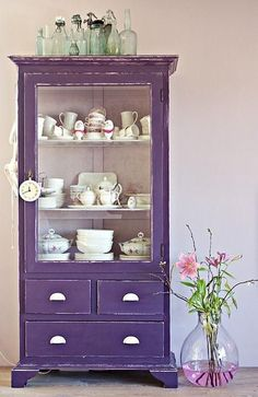 14 a shabby chic violet cupboard - just take a vintage piece and paint it violet - DigsDigs Purple Furniture, Colorful Furniture, Painted Furniture, Antique Furniture, Purple Home, Deco Violet, Pantone, All Things Purple, Kitchen Paint