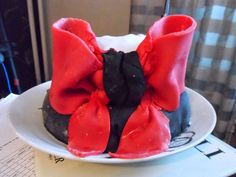 Red, white & black birthday cake w/ ribbon!