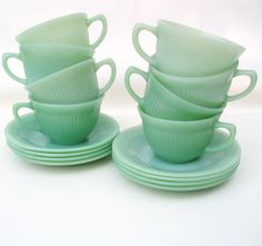 1950s Jadeite Jane Ray Cup and Saucer Set of 8 Jadite Coffee Cup Teacups with Plates 16 Pieces