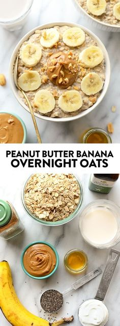 These peanut butter banana overnight oats combine all of your favorite flavors t., These peanut butter banana overnight oats combine all of your favorite flavors t. These peanut butter banana overnight oats combine all of your favo. Healthy Breakfast Recipes, Healthy Snacks, Breakfast Ideas, Healthy Breakfasts, Banana Breakfast, Sweet Breakfast, Breakfast Protein Smoothie, Quick High Protein Breakfast, Healthy Oatmeal Breakfast