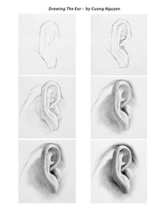 Pencil Drawing Ear Pictures Sample Pictures How to draw ear with pencil drawing techniques … Pencil Art Drawings, Realistic Drawings, Art Drawings Sketches, Drawing Faces, How To Draw Realistic, Male Drawing, Shading Drawing, Body Drawing, Anatomy Drawing
