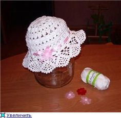 White Lace Summer Baby Hat free crochet graph pattern
