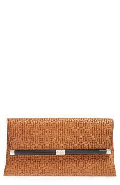 Diane von Furstenberg '440 - Weave' Embossed Leather Envelope Clutch