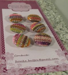 Franka Button. Set of six buttons fabric covered. Hand made by women in Chile