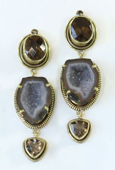 Geode and Smokey Quartz Earring  by Amy Kahn Russell on nauticalrooster.com