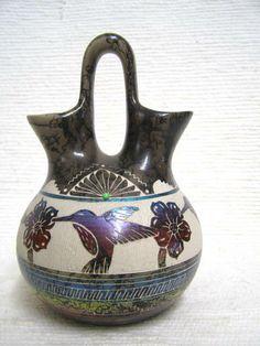 Navajo Fine Etched Horsehair Wedding Vase with Hummingbirds.  A Wedding Vase is…