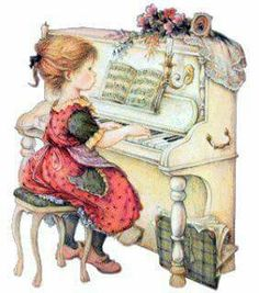 Art by Lisi Martin ~ ~ ~ This brings Precious memories of my daughter's piano lessons :) ♥ Jessie Willcox Smith, Sarah Key, Dibujos Cute, Illustration Art, Illustrations, Holly Hobbie, Pictures To Paint, Piano Pictures, Vintage Pictures