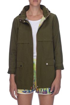 Gorgeous and chic military inspired, lightweight spring jacket. Minimalist style in a deep olive with heavyweight silver metallic hardware. Front pockets and an attached hood. Springtime style! Sizing runs large. Coupe Olive Jacket by Against Nudity. Clothing - Jackets, Coats & Blazers - Jackets Michigan