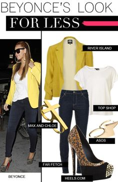 I remember seeing Beyonce' in a magazine with this on. I've been looking for a yellow or burnt yellow blazer forever.I loved this outfit. Simple and Cute!